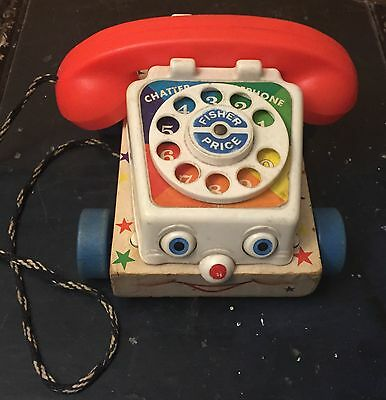 Vintage Fisher Price Chatter Telephone 1961 #747 Pull String Toy