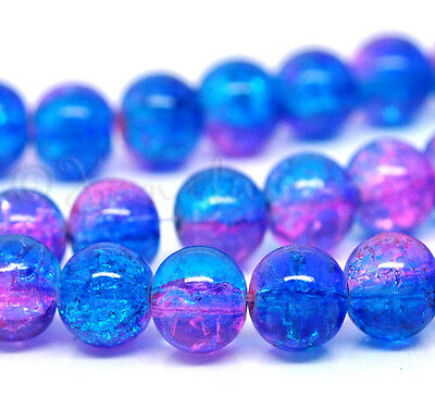 Blue Pink Wholesale 8mm Round Crackle Glass Beads G2230 - 50, 100 Or 200PCs
