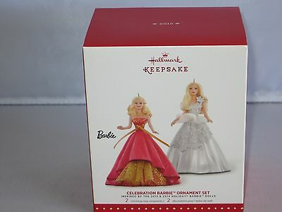 Hallmark CELEBRATION BARBIE Ornament Set 2015 - NIB - Set of 2