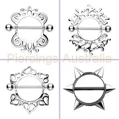 Nipple Shield Bar Ring Body Piercing Jewellery CHOOSE DESIGN SINGLE OR PAIR