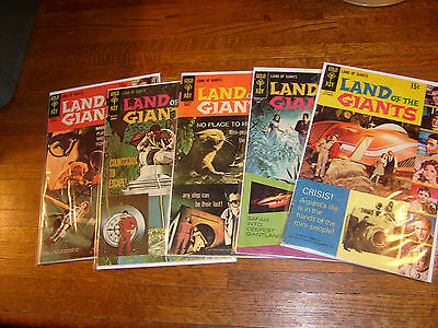 vintage LAND OF THE GIANTS GOLD KEY COMICS #1, 2, 3, 4, 5