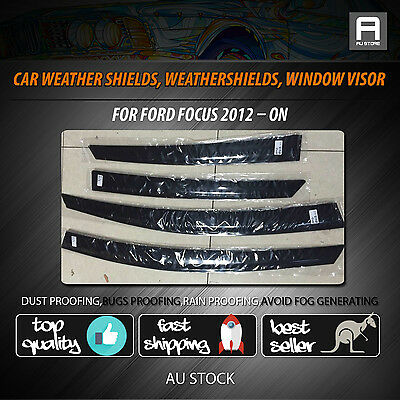 Premium Weather Shields Weathershields Window Visor Fit Ford Focus 2012 - 2017