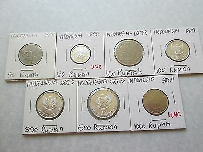 INDONESIA 7 coins 1971-2010 circ-unc carded