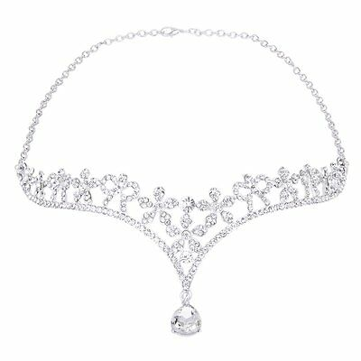 Crown Tiara Bridal Bridesmaid Crystal Rhinestone Flower/ Frontlet LW