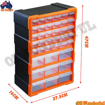 New 39 Drawers Storage Cabinet Tool Box Chest Case Plastic Organizer Toolbox Bin