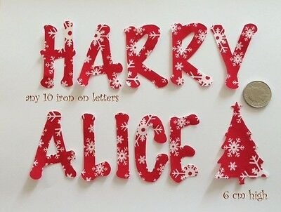 Any 10 Die Cut Iron On, Glue On Fabric Letters in christmas fabric Christmas