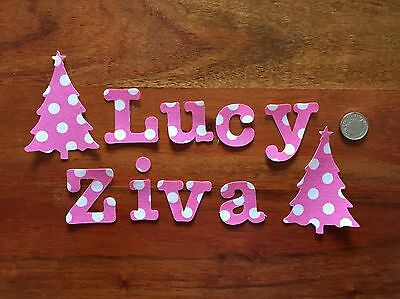 Any 10 Die Cut Iron On Sew On , Glue On Fabric Letters Girls & Boys Personalised