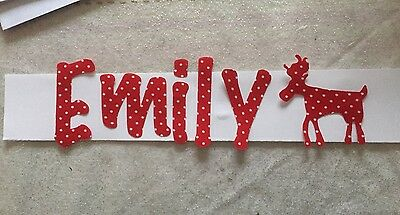 Any10 Die Cut Iron On Fabric Letters Christmas RED POLKA- Spotty ��bunting Names