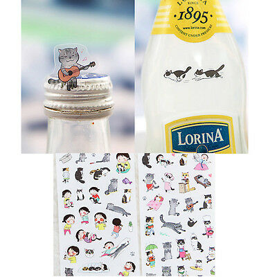 6 sheets/lot Cartoon PVC Paper Stickers Red hat Girl Cat Rabbit For Kids ca
