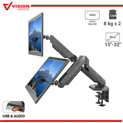 "Vision Mounts VM-GM224U Dual Arm Gas Spring Monitor Mount USB 2x 8KG to 27"" VESA"
