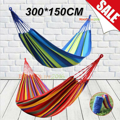 Double Cotton Fabric Hammock Air Swing Chair Hanging Camping Outdoor 300x150CM