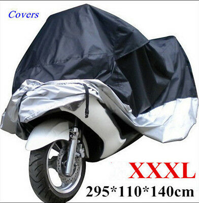 XXXL Waterproof Motorcycle Cover Motorbike Breathable Vented Black XXXL Cover