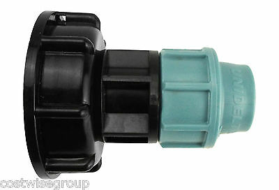 IBC Tank adapter S60X6 to MDPE straight pipe fitting 20mm