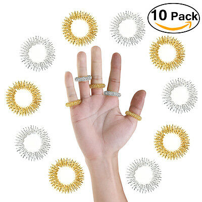 10pcs Finger Circulation Chinese Medicine Acupressure Massage Rings Pain Therapy