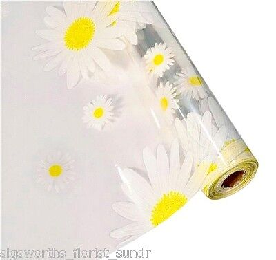 WHITE YELLOW DAISY on CLEAR Cellophane Roll 80cm Hamper Flower Gifts Wrap Film