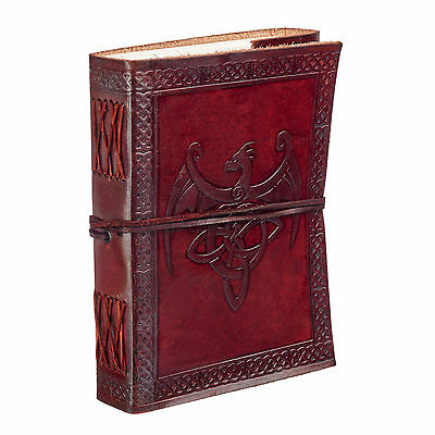 Fair Trade Handmade Celtic Winged Dragon Leather Journal Notebook Diary