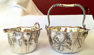 Antique Whiting Sterling Silver Overlaid Floral Motif Sugar & Creamer 1866-1924