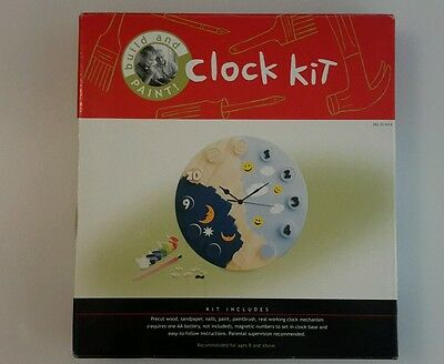 BUILD AND PAINT WOOD CRAFT CLOCK KIT  new