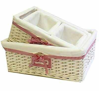 Set of 4 Rustic White Willow Storage Baskets. Gingham Lining. Shabby Chic