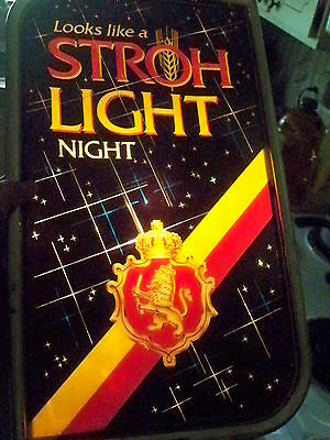 Vintage Strohs Light Night Advertising Lighted Beer Bar Large Sign Works