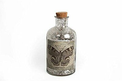 Shabby Chic Distressed Vintage Style Glass Display Bottle. Butterfly Design.