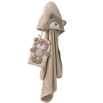 B is for Bear Hooded Soft Bath Towel and Mitt, Newborn Baby Cotton Robe - Bear
