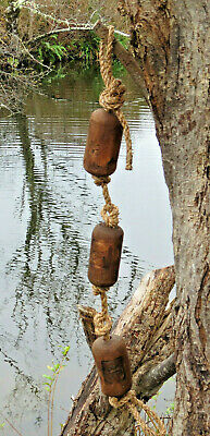 Japanese Wood Fishing Float Swag Kanji-Marked Authentic Pool Tiki Decor Vintage