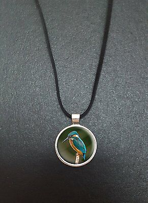 """Kingfisher Pendant On a 18"""" Black Cord Necklace Ideal Birthday Gift N110"""