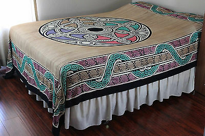 Handmade 100% Cotton Celtic Wheel of Life Tapestry Tablecloth Spread Queen Tan