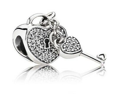 Lock of Love Heart & Key Genuine Silver s925 CZ Pedant Charm +Gift Pouch