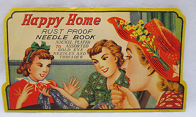 Vintage Happy Home Needle Book Gold Eye Needles and Threader Ladies Sewing