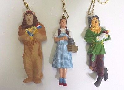 Christmas Tree Ornaments Wizard of Oz Dorothy  Lion Scarecrow Set Of 3