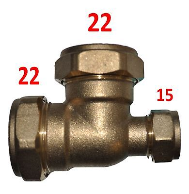 22mm x 15mm x 22mm Compression Reducing Tee