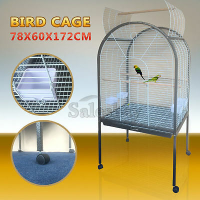 Large Stand-Alone Pet Bird Cage Parrot Budgie Canary Aviary Caster Wheels