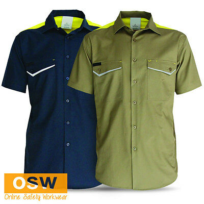 Mens Soft Cotton Air Upper Back Vents Cool Dry Ripstop Light Weight Work Shirt