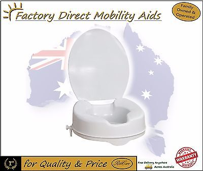"Raised Toilet seat 4"" 100mm With Lid easy clip on"