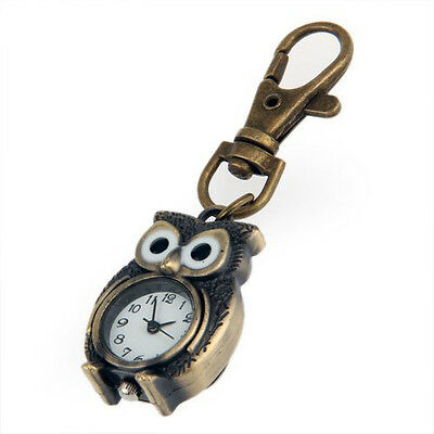 Pocket & Fob Watches Retro Bronze Metal Clock Robot Keyring Chain With Clock 1.8 New