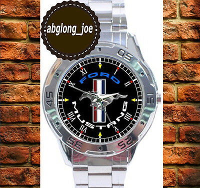 New FORD MUSTANG RUNNING PONY Custom Chrome Men's Casual Watch Wristwatches
