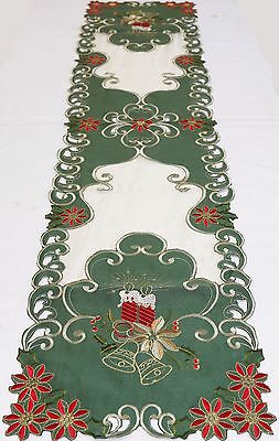 Long Handmade Embroidery Cutwork Christmas Table Runner Home Decoration 36x173cm