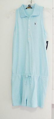 Ralph Lauren Little Girls Polo Romper Aquamarine Sz 5 - NWT