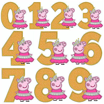* PEPPA PIG  NUMBERS * Machine Applique Embroidery Patterns * 10 Designs,4 Sizes