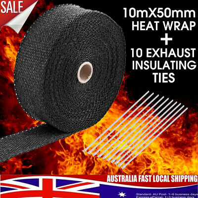 Exhaust Pipe Insulation Cloth Heat Wrap Titanium 10M X 50Mm + 10 Stainless Ties