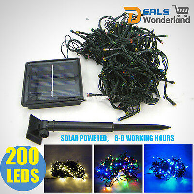 200 LEDs Solar Powered String Fairy Tree Light Outdoor Wedding Party Xmas