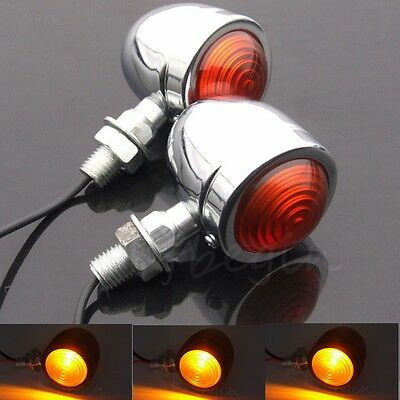 2x Chrome Feu Clignotant Indicateur Moto Bullet Ambre Turn Signal Lamp Pr Harley