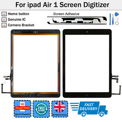 For iPad 5 Air 1st A1474 A1475 A1476 Black Touch Screen Glass Digitizer + Button