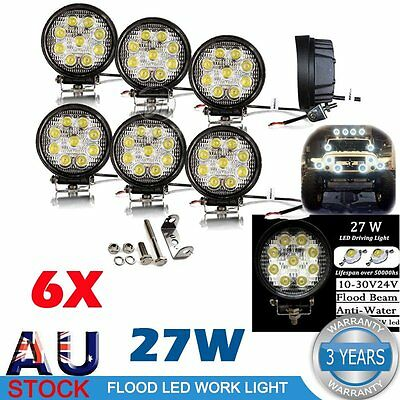 "6X 4"" 27W Flood LED Work Light Bar Offroad Boat Car Tractor Truck UTE SUV Round"