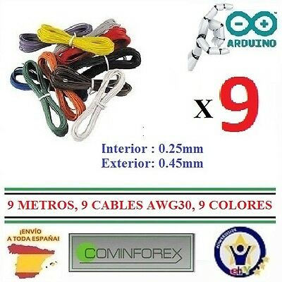 9 Cables de 1Mt  AWG30 Unifiliar Wrapping Wire Electronica 9 Colores Dupont PCB