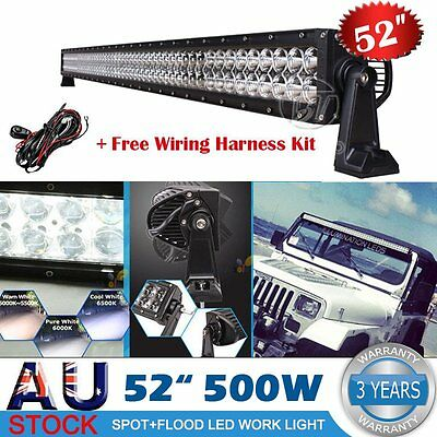 52inch 500W PHILIPS LED Work Light Bar Flood Spot Combo Offroad Pickup SUV ATV