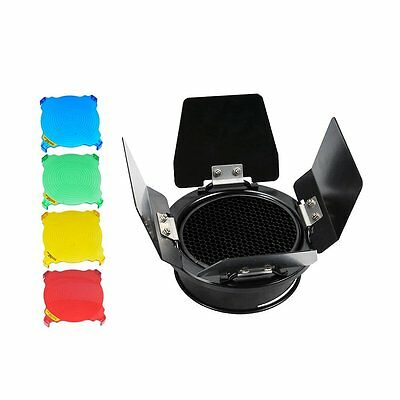 Godox BD-03 Barn Door with Honeycomb Grid & 4 Color Filter Kit for E250 K180