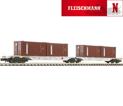 "825317 Fleischmann Double Container Wagon ""Grimaldi"" AAE  N Gauge New & Boxed"